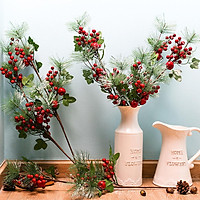 Artificial Red Berry Pine Twigs Decoration for Christmas Crafts Party Home Decor