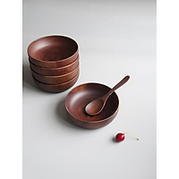 Bát, tô gỗ keo tròn thấp phong cách Nhật Bản ăn cơm, đựng đồ ăn, salad