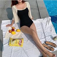 Set bikini 1 mảnh, Bodysuit đen viền trắng khoét lưng baby