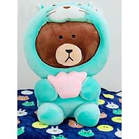 Gối mền thú bông gấu brown mặc áo - Mèo xanh ngọc - 45450