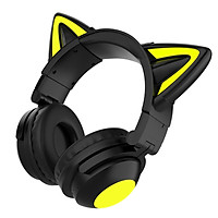 Girl Wireless Gaming Headsets, Cute Cat Ear Headset, Noise Cancelling Stereo Gaming Headphones, Fashion Bluetooth 5.0 Headset for Kids