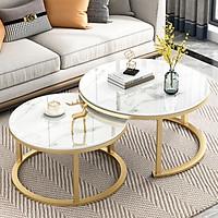 Bàn trà tròn đôi chân sắt mặt giả đá sang trọng - Bàn trà đôi phòng khách chân thép cao cấp