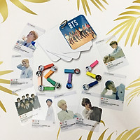 Combo Kẹp Ảnh Gỗ - Card trong suốt - Giấy ghi chú BTS [ Giao mẫu ngẫu nhiên ]