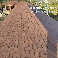 Ngói bitum phủ đá cana đa tầng light brown - ngói lợp màu nâu Hàn Quốc chống thấm và trang trí mái biệt thự, nhà gỗ, nhà tiền chế, đóng gói 14tấm/gói/2.54m2 mái phủ