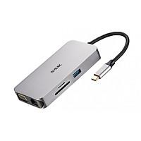 Hub USB Type-C 8 Cổng HDMI/USB 3.0/SD/TF/LAN Gigabit (RJ45) SSK SHU-C520 - Hàng Chính Hãng