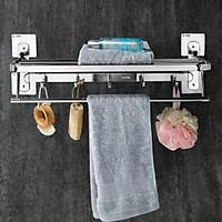 Giá treo khăn inox 304 dán tường mã B600 - Kệ treo khăn nhà tắm đa năng gấp gọn