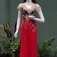 Đầm maxi body dạ hội kết hoa nổi và kim sa TRIPBLE T DRESS- size M/L/XL (kèm ảnh thật) MS28Y