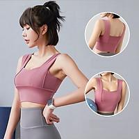 Áo bra tập gym có mút đệm, co giãn tốt, ôm dáng tôn ngực, 2 dây To Bản