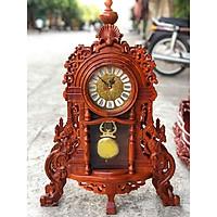 Đồng hồ để bàn gỗ hương thịt cao cấp 70x50x15cm