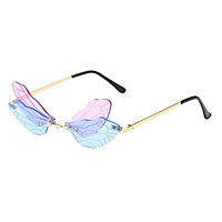 Dragonfly Rimless Sunglasses Novelty Tinted Lens Glasses Eyewear