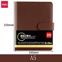 Deli PU Leather Book A5/A6 Loose-leaf Notebook Stationery Book Thickened Notepad Business Meeting School Record Notebook Magnetic Button Book Office Students Hardcover Soft Copy Diary