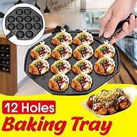 12 Holes Takoyaki Grill Pan Plate Cooking Baking Puffs Octopus Ball Maker Mold