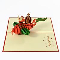 Thiệp 3D handmade  Santa Clause, Ông già Noel cũng chiếc máy bay size 12x18cm CN120