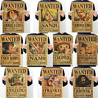 Bộ 10 tấm Poster One Piece Luffy Zoro Sanji Nami Robin Chopper Fanky hình nhân vật truy nã