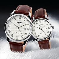 Đồng hồ đôi thời trang cổ điển SKMEI Chính Hãng SK9058 (Phụ kiện thời trang) fullbox, chống nước - Mặt kính Mineral, dây da cao cấp, sang trọng