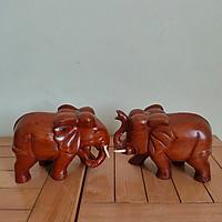 Cặp voi gỗ hương liền khối kích thước 20x13x10cm - Tặng kèm bộ 10 đôi đũa chống mốc Hàn Quốc