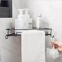 Giá để đồ nhà tắm kim loại bền đẹp MẦU MỚI có móc treo đồ tiện ích , kệ đựng đồ đa năng không cần khoan tường siêu tiện dụng - giao màu ngẫu nhiên