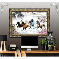 Bức tranh ngựa treo tường bát mã - MÃ ĐÁO THÀNH CÔNG chất liệu in vải lụa hoặc giấy ảnh bóng gương Mã số:L8F-00401571L8