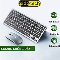 Bộ bàn phím chuột không dây sạc pin Sidotech V780B dòng kết nối bluetooth mini cho Laptop Macbook Máy tính bảng, pin sạc 1 lần dùng 1 tháng, thiết kế công thái học êm ái có chức năng silent chống ồn khi gõ, kiểu dáng hiện đại - Hàng Chính Hãng