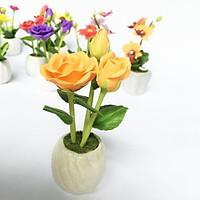 Chậu hoa đất sét mini - Hoa Hồng (phát màu ngẫu nhiên)