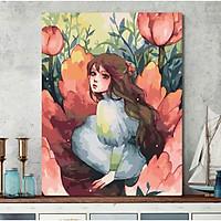 Tranh sơn dầu số hoá tự tô đã căng khung cô gái mộng mơ mẫu 2