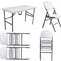 Bàn ghế xếp - bàn ghế nhựa xếp cao cấp BX02