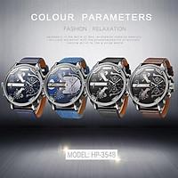 Men Business Two Time Zone Quartz Watch Stylish Luxury Leather Watchband Wristwatch