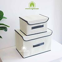 Combo 2 hộp đựng đồ gấp gọn có nắp đậy Màu kem-  Morning House - Gấp gọn di chuyển tiện lợi