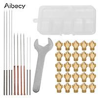 Aibecy 3D Printer Nozzles Maintenance Tool Kit MK10 M7 Thread Extruder Brass Nozzle 0.2/0.4/0.6/0.8/1.0mm Print Head