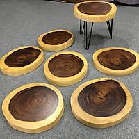 Ghế đôn tròn mặt gỗ me tây nguyên tấm tự nhiên (35-40) x 4 x 45 cm