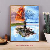Tranh tự tô màu sơn dầu số hóa - Mã TT0491 Xuân hạ thu đông Tranh bốn mùa