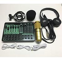 Combo Bộ Livestream Thu Âm Mic BM900 và Sound Card H9 PRO Bluetooth Autotune Tặng Tai Nghe Chụp