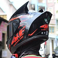 Mũ Bảo Hiểm Fullface AGU Tem Đỏ Đen + Sừng + Đuôi Gió