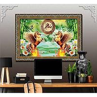 Bức tranh ngựa treo tường bát mã - MÃ ĐÁO THÀNH CÔNG chất liệu in vải lụa hoặc giấy ảnh bóng gương Mã số:L8F-00401288L8