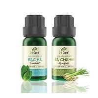 Combo 2 Tinh dầu Sả Chanh + Bạc Hà 24Care 10ml/Chai
