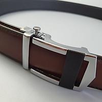 [Da thật] Thắt lưng da bò thật khóa trượt nút bấm BL113 (Bản 34mm) (Black/Brown) - Da bò thật 100%