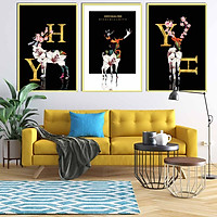 Bộ 3 tranh canvas treo tường Decor hươu cách điệu - DC047