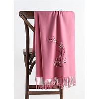 Khăn len quàng cổ nữ thêu hoa Cashmere chất len dệt mịn