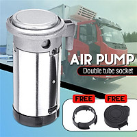(Double Tube Socket) 178DB Electric Dual Trumpet Loud Air Compressor Tank Air Pump With Cover For Air Horn Vehicle Car