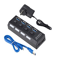 4 Port USB HUB Multi USB 3.0 Splitter 5.0Gbps High Speed Converter Adapter with on/off Switch For MacBook PC Notebook