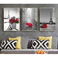 Tranh treo tường Mica 3 bức Tháp Eiffel và hoa hồng Hiện đại tại Tây Ninh