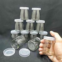 combo 12 hũ thủy tinh đựng sữa chua 100ml mẫu Trụ Tròn Vát eo - nắp nhựa – hủ yaourt thủy tinh siêu trong