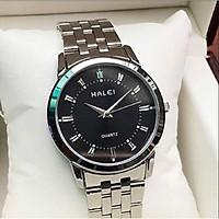 Đồng hồ cặp đôi nam nữ Halei mặt trắng dây da kim loại chính hãng Tony Watch 68