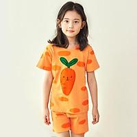 Bộ đồ ngắn tay mặc nhà cotton mịn cho bé gái U3026 - Unifriend Hàn Quốc, Cotton Organic