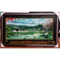 TRANH ĐÈN LỊCH VẠN NIÊN - ĐÓN TÀI LỘC ( PHONG CẢNH THÁC NƯỚC ) khổ 58*98cm
