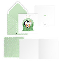 Thiệp tình yêu Valentine HAPPINESS IS YOU AND ME vuông 12cm SDstationery LIVE GREEN chim cánh cụt
