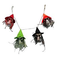 Vải Treo Bóng Ma với Viên Thuật Nón Halloween Treo Trang Trí cho Các Buổi Tiệc Sân Nhà Trang Trí-4 Hộp Sọ Đầu