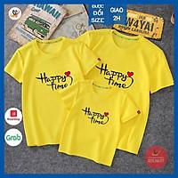 Áo gia đình HAPPY TIME - ĐỦ SIZE màu vàng GD315VD