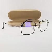 Gọng kính cận nam nữ mắt vuông kim loại màu đen, bạc SA0026. Tròng kính giả cận 0 độ chống ánh sáng xanh, chống nắng và tia UV