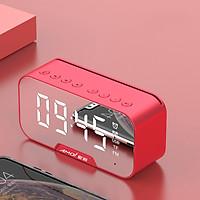 Loa bluetooth không dây AMOI G5 mini, tích hợp đồng hồ báo thức,  đài FM, mặt kính tráng gương có màn hình Led - Hàng nhập khẩu
